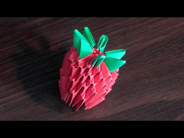 3D origami strawberry tutorial (instruction) for beginners