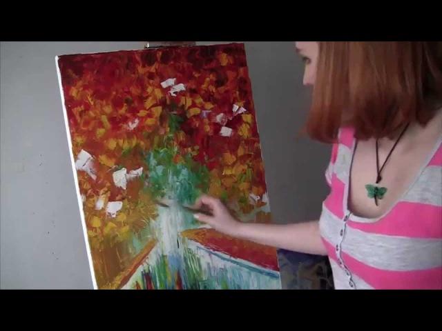 Artist Liuba Diker. Autumn landscape oil.Videolesson.