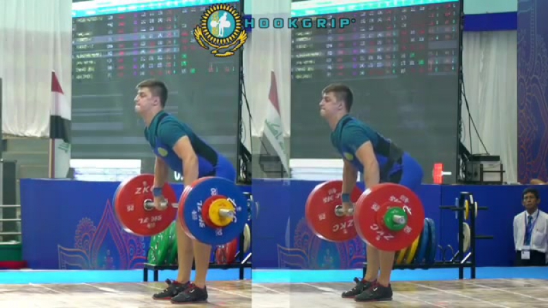 (85kg, 17y/o) clean and jerking 173kg and 182kg/400lb to win silver in the CJ and bronze overall at the 2017 Asian Juniors.