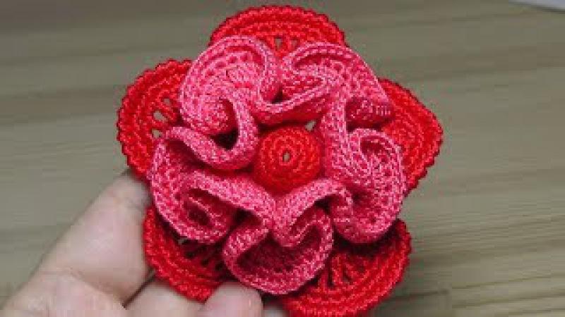 Объёмный ЦВЕТОК вязание крючком Crochet flower Tutorial