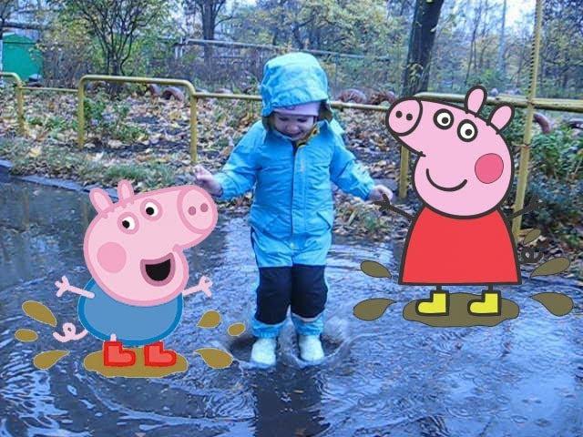 Маргарита как свинка_Пеппа. Гуляем в дождь и прыгаем_по_лужам с папой_Свином. З ...