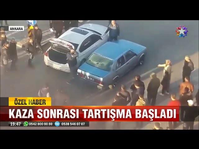 Ankara Mamakta aracına çarpan otomobili zincirli sopa ile hurdaya çevirdi