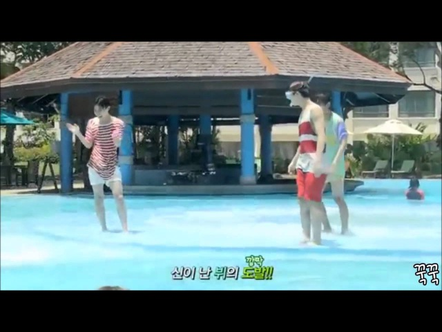 J hope Jimin V and Jungkook having fun at the pool
