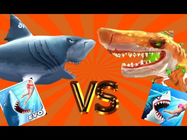 Hungry Shark World vs Hungry Shark Evolution - Мегалодон vs Радиоактивной Акулы !