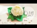 DIY: Роза из атласных лент на зажимах своими руками   канзаши   hair clip - rose with rhinestones