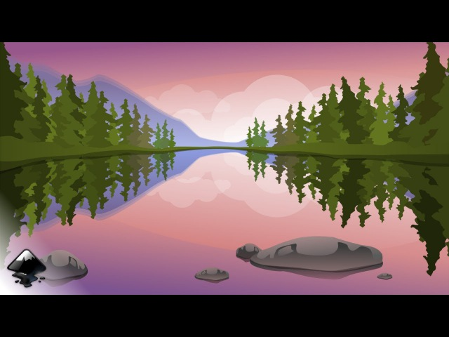 How to draw a landscape with a lake in Inkscape