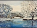 Зимний пейзаж акрилом. Лимитированная палитра. Winter scene in acrylic,, limited palette