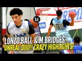 Lonzo Ball &amp Miles Bridges UNREAL DUO at Ballislife All American Scrimmage! CRAZY HIGHLIGHTS!!