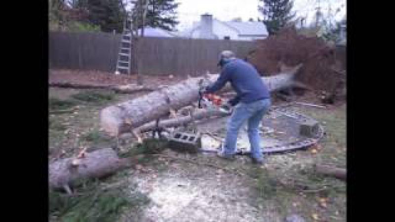Идиот с БЕНЗОПИЛОЙ / дерево VS лесоруб
