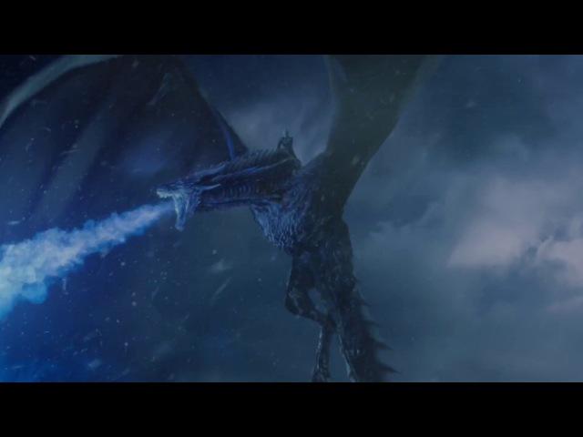 Король Ночи верхом на Визерионе разрушает Стену Ночного Дозора. Игра Престолов (7 сезон 7 серия)