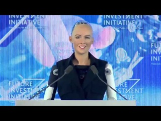 Robot Sophia speaks at Saudi Arabia's Future Investment Initiative