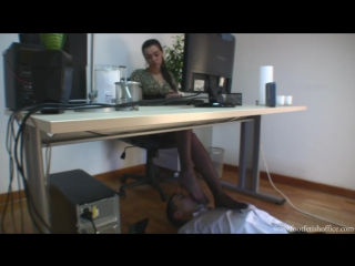 Foot fetish Фут-фетиш office feet slave under table #femdom #nylon #stockings #sniff #heels #trampling