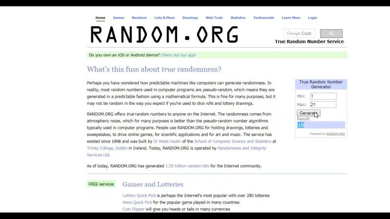 Выбор победителей с помощью сайта RANDOM.ORG