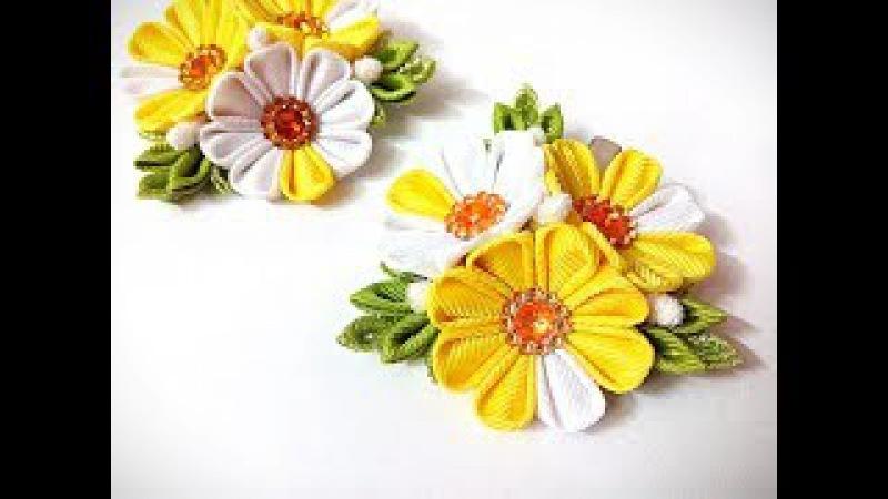 яркие заколки канзаши из лент МК Decoration from ribbons DIY
