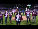 HD Cast Of Glee - USA National Anthem (Live At World Series Game 3)