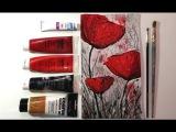 Красные маки на сером фоне (рисуем акрилом)