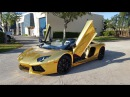 Gold Lamborghini Aventador Roadster By Custom Wrap Design See How It's Done