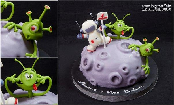 """Торт с инопланетянами """"Прогулка в космос"""", 3,5 кг cake"""