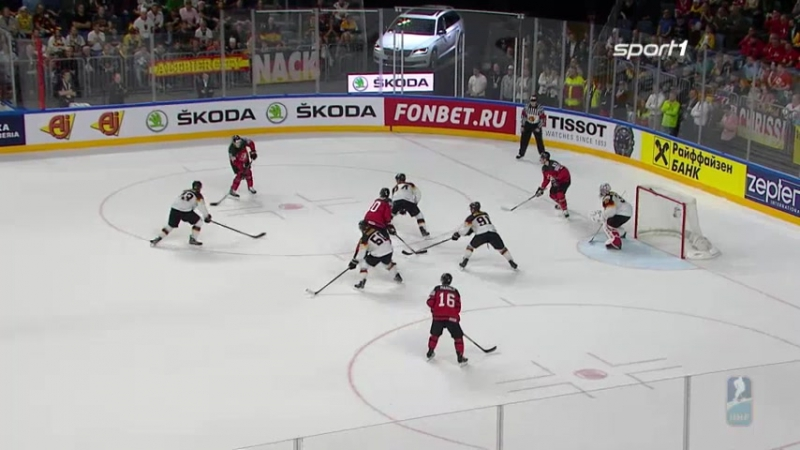 Deutsches Eishockey-Nationalteam gegen Kanada.