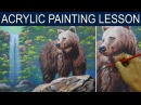 Brown Bear and the Waterfall | Full Acrylic Painting Tutorial by JM Lisondra