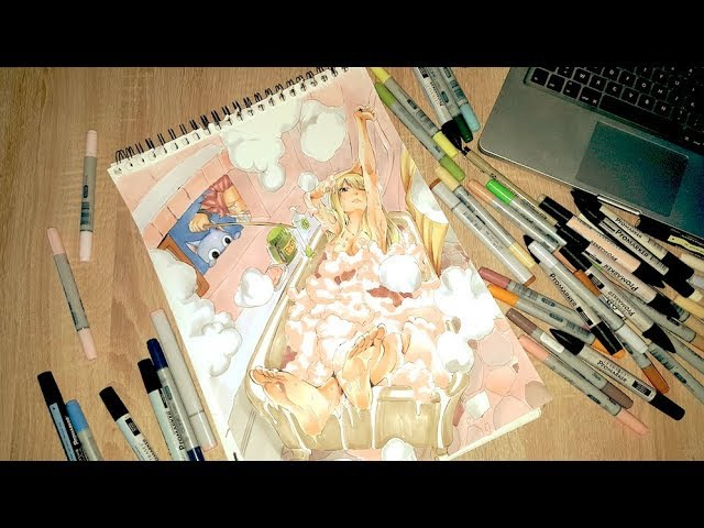 SPEED PAINTING FAIRY TAIL LUCY HEARTFILIA BATHROOM WITH NATSU HAPPY COPICS PROMARKERS