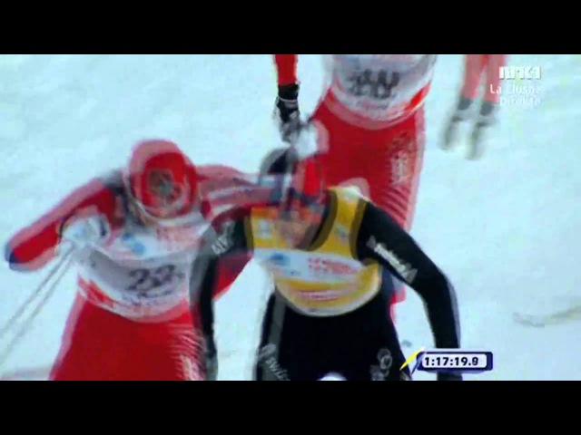 Maxim Vylegzhanin sprinter ut Petter Northug i 30 km fri fellestart La Clusaz