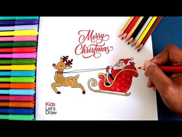 Cómo dibujar a Papa Noel en su Trineo | How to draw Santa Claus Flying on his Sleigh