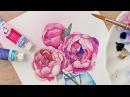 Урок рисования цветы акварелью ♡ Как научиться рисовать пионы Katerina Rise