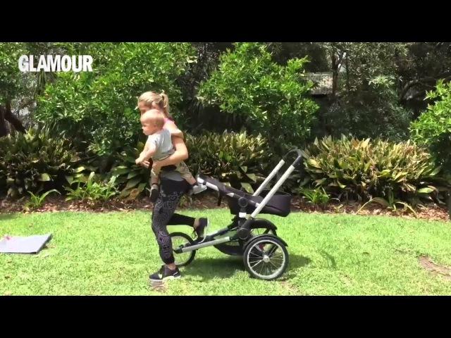 Elsa Pataky jogging y entrenamiento con el carrito de sus bebés