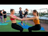 Acro Yoga на крыше Gold's Fitness Золотая Миля