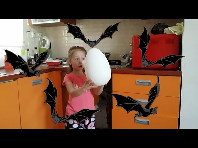 Children prepare food from a Dinosaur egg Who bewitched the egg Horror stories for children