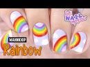 🌈 Красивый летний маникюр Радуга рисунок Beautiful freehand summer Rainbow nails