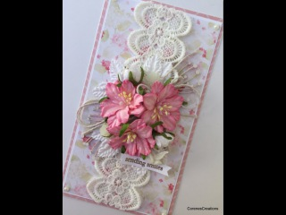 Handmade card using Pretty Flori Flowers from Wild Orchid Crafts (start to finish)!
