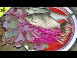 Awesome east village food-Red Spinach Recipe with Fish Cooking in my Village-Lal shak Recipe #63
