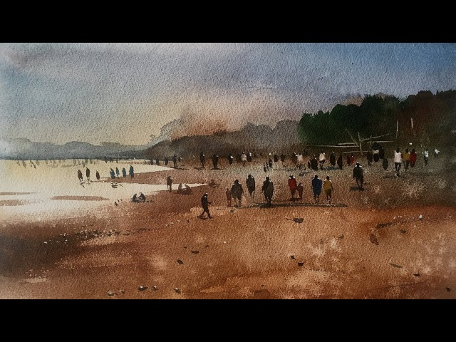 How to paint a beach in watercolor very easy by Prashant Sarkar.
