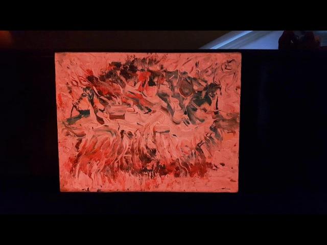 Эффект от лампы на моей абстрактной картине Light effect on art
