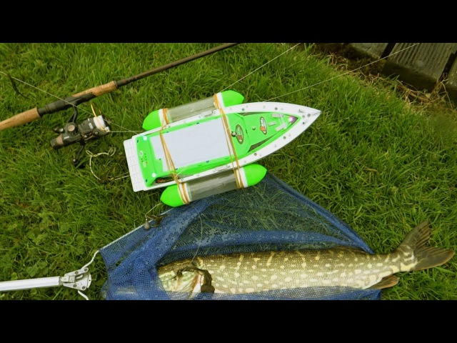 Pike vs RC boat epic battle. Catching my first fish with baitboat uncut. Рыбалка щука на кораблик.