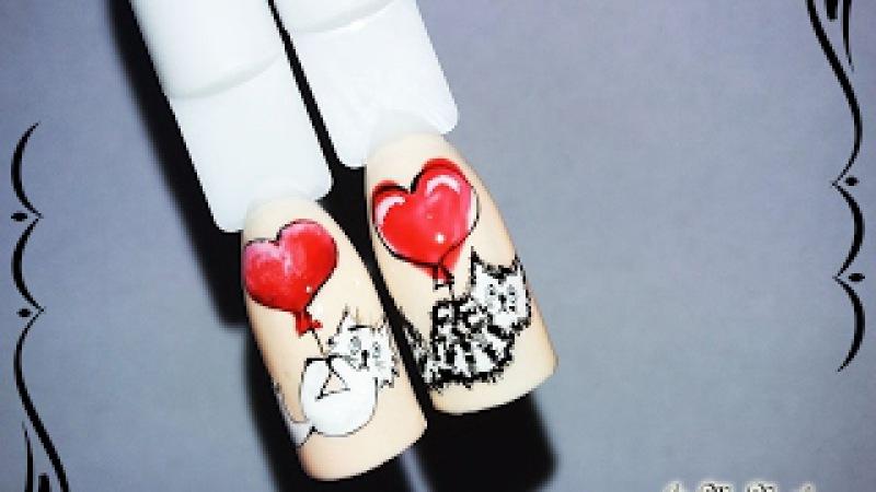 Дизайн к 14 февраля Дизайн ногтей гель лаком Nail design Shellac Котик и Сердце