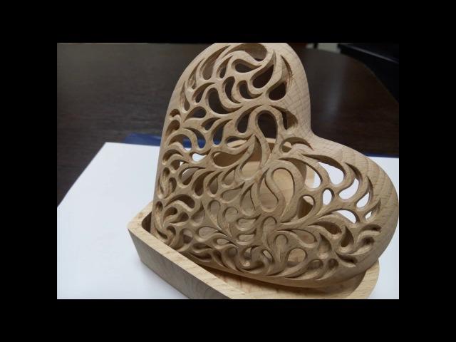 Ажурная шкатулка в форме сердца/ Wooden heart box