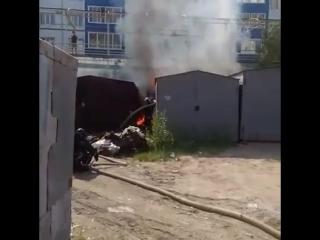 Пожар в гаражах у Японского дома. Якутск.22.06.17