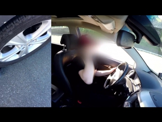 My blonde girlfriend car candid crushed my hand Part 1