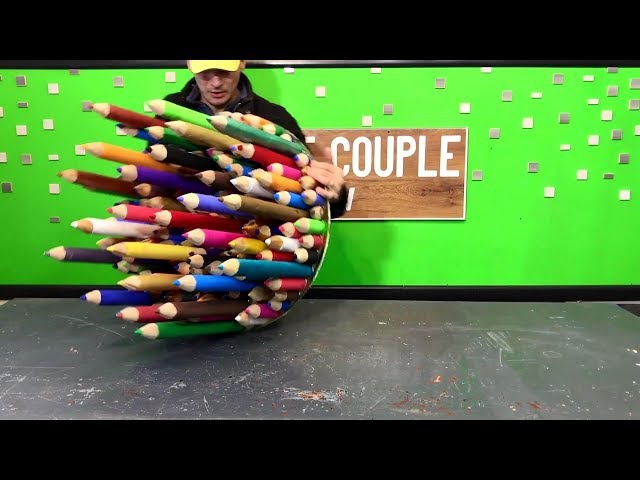 Table of pencils and epoxy resin Стол из эпоксидной смолы и карандашей
