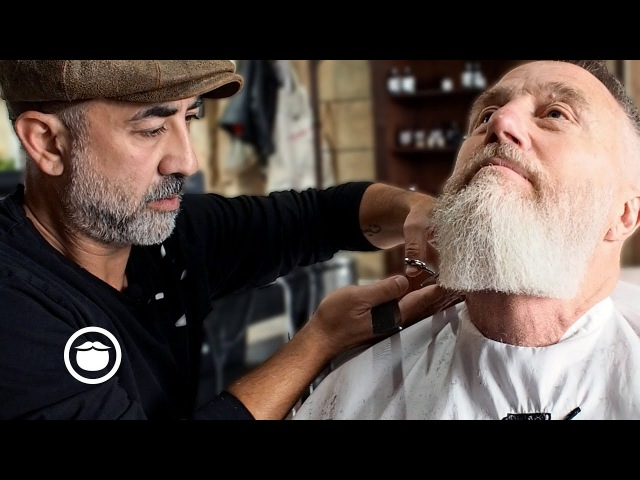 Master Barber Gives Stylish Haircut and Beard Trim | Cut Grind