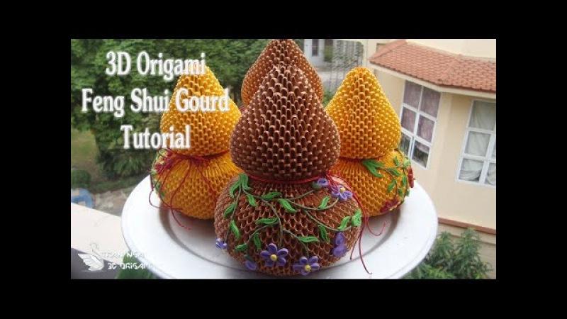 How To Make 3D Origami Feng Shui Gourd | Cómo hacer un jarrón de calabaza de origami 3d