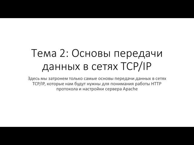 Тема 2: Основы передачи данных в сетях TCP/IP (компьютерных сетях)