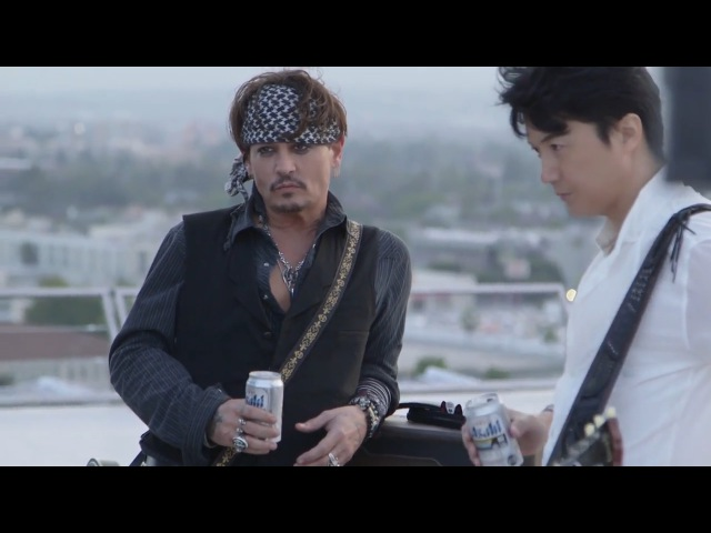 Johnny Depp for Japanese beer commercial (Behind the scenes)