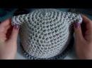 Шляпка с ушками из трикотажной пряжи Нитка (ширина нити 5 мм)