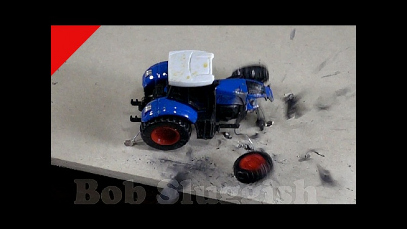 Shooting at tractor Destruction of tractor in slow motion My toy tractor