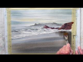 Морской пейзаж \ painting wet sand in watercolor