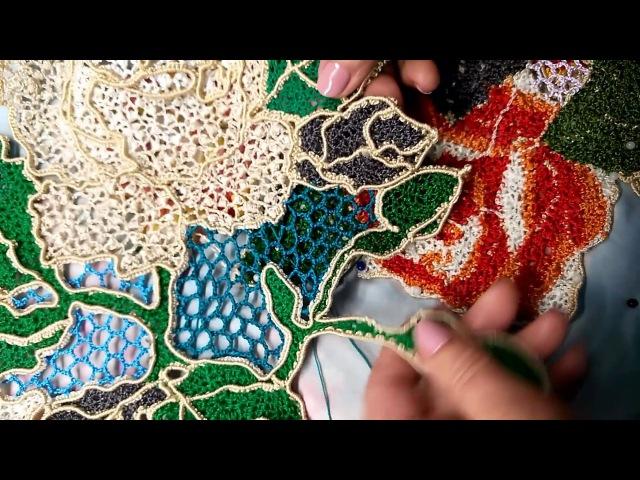 Розы связанные крючком на бурдоне мелкой сеточкой с узким для Ирландского кружева